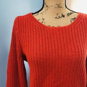 J. Jill Burnt Orange Cotton/Wool Blend Sweater